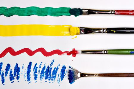 flat brush: Four strokes of primary colors Stock Photo