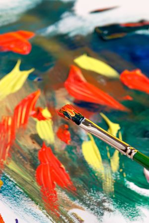 Brush with paint and abstract painting Stock Photo - 640812