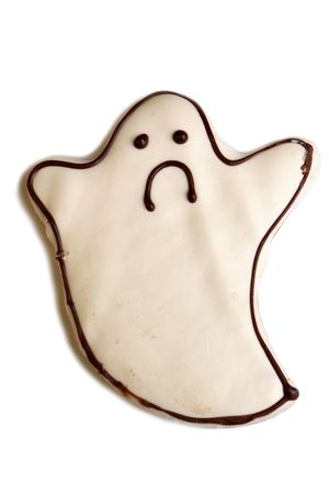 Halloween cookie isolated on white background photo