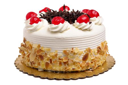 pastry: White Cake with cherries and chocolate