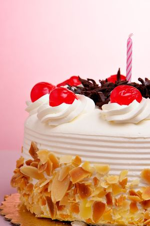 layer cake: Birthday cake with cherries Stock Photo