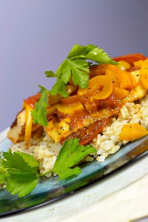 Moroccan Fish Tagine served on plate Stock Photo