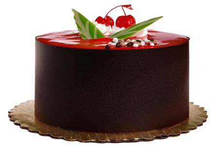 Chocolate Cake with two cherries on top