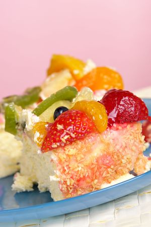 Two slices of fruit cheesecake photo