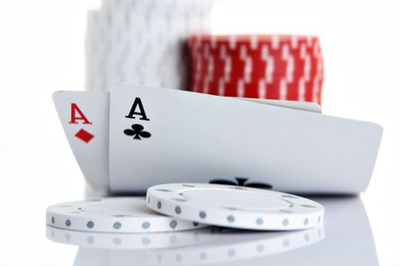 Pocket Aces and poker chips photo