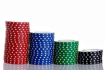 Poker chip stacks in a row photo