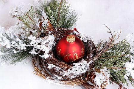 Red ornament in nest and snow photo