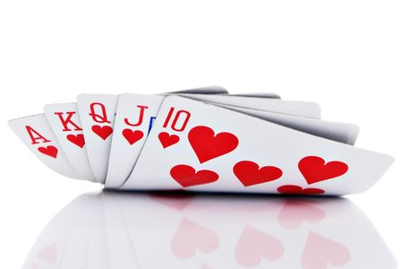 poker cards: Royal flush of hearts on white background