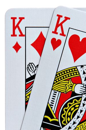 king of hearts: Pocket Kings closeup with white background