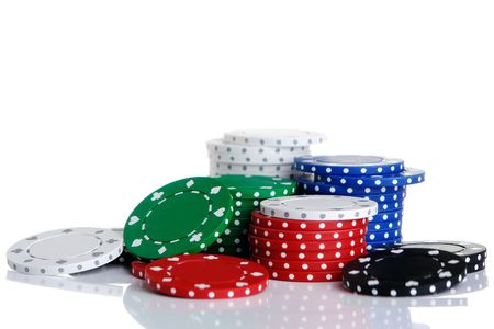 Lot of gambling chips stacks Stock Photo
