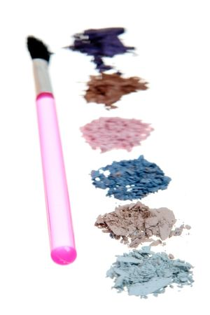 Crushed Eyeshadow isolated on white photo