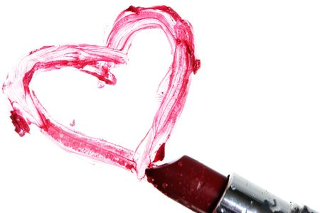 Lipstick and an heart on white Stock Photo