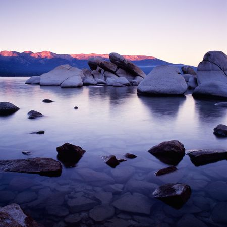 Lake Tahoe at sunset with purple colors