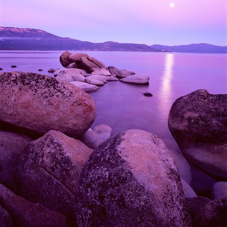 tahoe: Lake Tahoe at sunset with purple colors