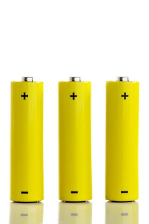 Three batteries isolated on white Stock Photo