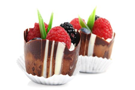 Delicious chocolate cake with berries