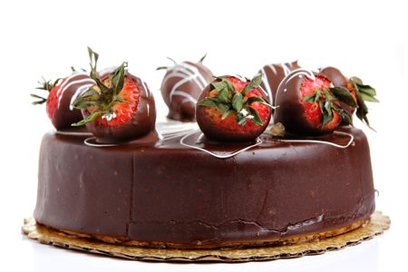 Strawberry Chocolate cake on white