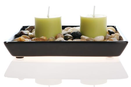 Candles in a bowl with stones Stock Photo - 887868