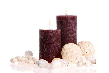 potpourri: Candles and potpourri on white background Stock Photo