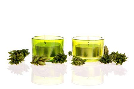 potpourri: Green Candles and potpourri on white Stock Photo