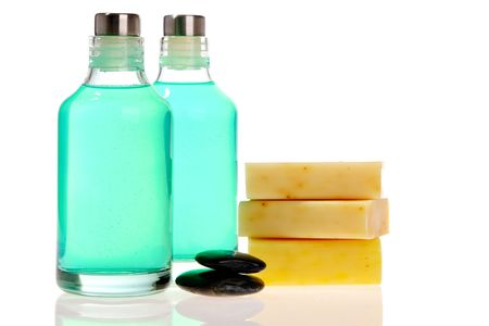 Soap bars and spa bottles