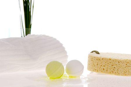 Bath balls, towel and sponge Zdjęcie Seryjne