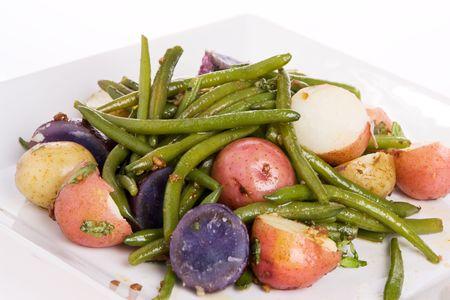 String Beans potato salad served