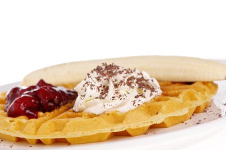 slagroom: Wafels met banaan en slagroom