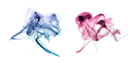 smell of burning: Smoke collection on white background Stock Photo