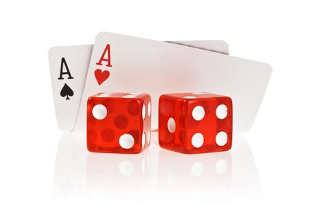 Pocket Aces Isolated on white background with reflection Stock Photo - 1829977