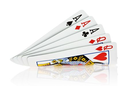 Full House Aces full of Queens on white background