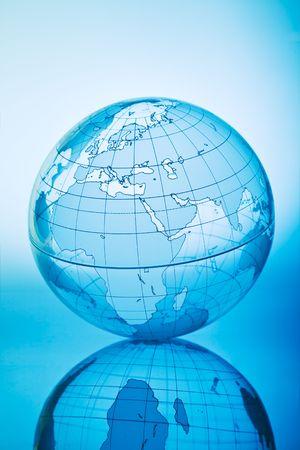 Blue globe with backlit light