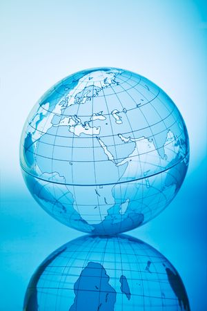Blue globe with backlit light photo