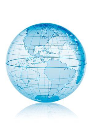 Blauwe wereldbol geïsoleerd op een witte achtergrond met bezinning Stockfoto