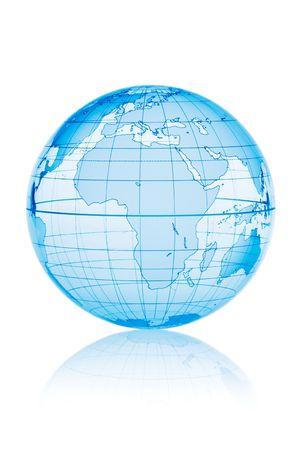 Blue globe isolated on white background with reflection Stock Photo