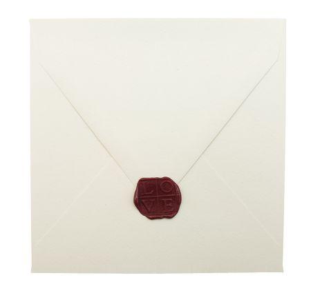 sealed: Sealed white envelope on white background