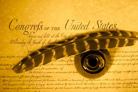 feather , inkwell and United States Constitution