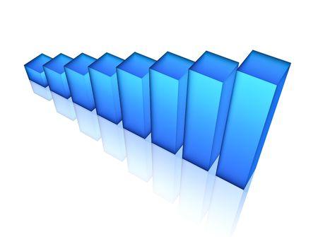 파란색 막대 차트, 3d 렌더링 스톡 콘텐츠