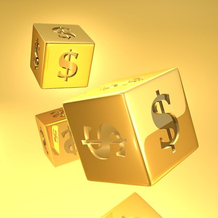 Gold Dice with dollar sign