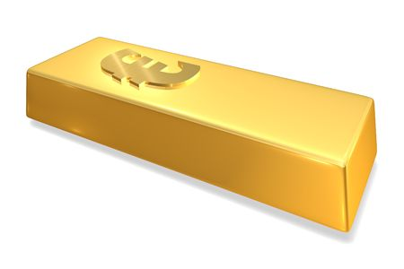 Gold Bar with Euro sign Imagens
