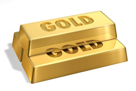 Gold Bars with gold sign Imagens