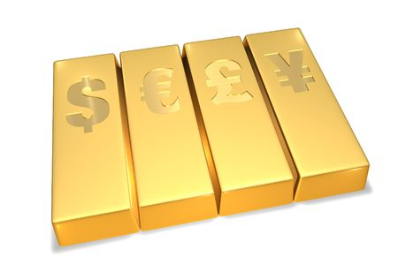 Gold Bars with currency signs