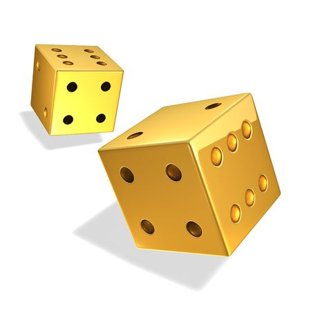 Gold Dice in motion on white photo