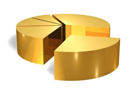 Gold pie chart 3d render