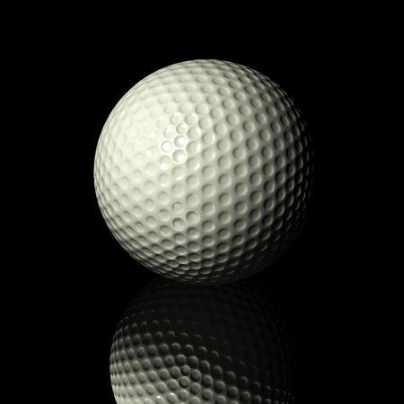 black: White Golf Ball on black background