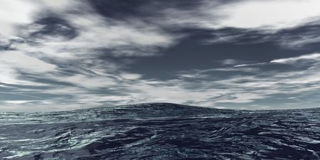 Open Ocean with waves and clouds