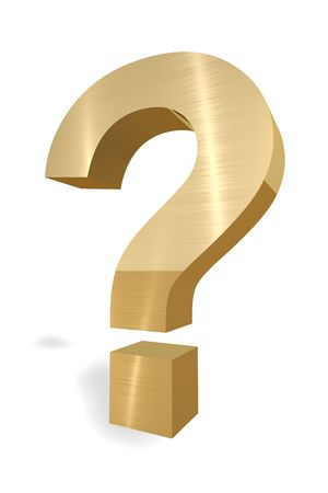 Gold Question mark on white background Imagens