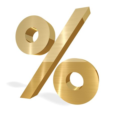 Gold Percent sign on white background Imagens