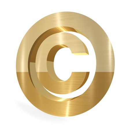 Gold copyright sign 3d render