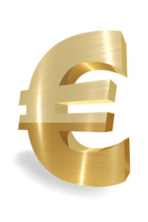 Gold Euro currency symbol on white background Imagens